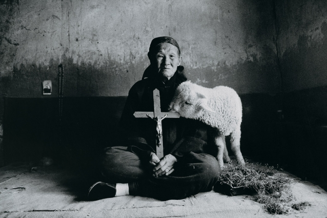 Lu Nan, Old Woman Holding Cross, with Lamb, Shaanxi, 1992