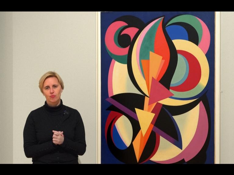 """Frame da visita com atividade """"Um olhar pela arte moderna: abstrações"""" dirigida ao 3.º ciclo do programa ENVOLVER Online"""