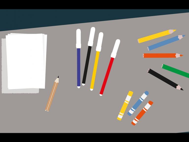 """Frame da visita com atividade """"No tempo dos artistas, vol. 2, Do Surrealismo à Op Art"""" dirigida ao 1.º ciclo do programa ENVOLVER Online"""