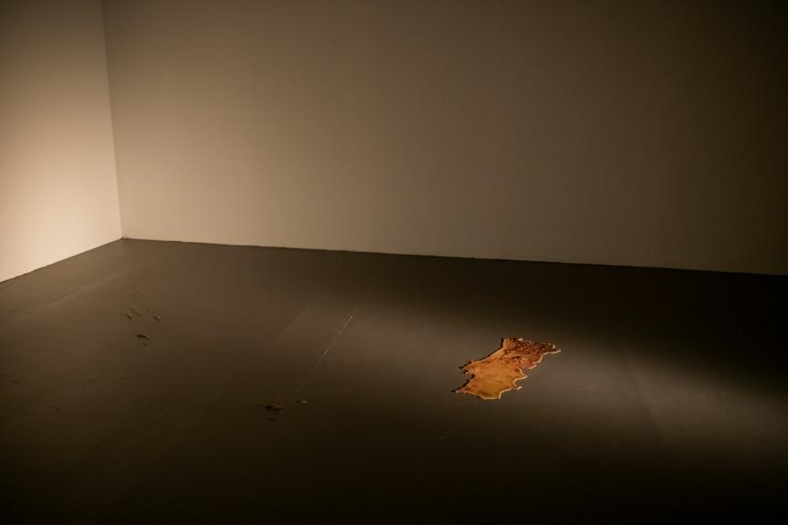 Fernando Brito, Modelo orográfico do território português, à escala 1/625000, sujeito às condições luminosas do dia 25 de Abril de 1974, às 8h00. Exposição Matéria Luminal / Exhibition Luminous Matter, Museu Coleção Berardo Foto/ Photo: Rita Carmo, vista